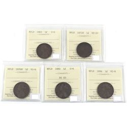 1865-1896 Newfoundland 1-cent ICCS Certified - 1865 G-6, 1872H VF-20, 1876H VG-8, 1880 RO ED G-6 & 1