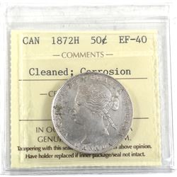 1872H Canada 50-cent ICCS Certified EF-40 (Cleaned, Corrosion).