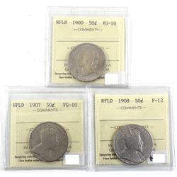 1900-1908 Newfoundland 50-cent ICCS Certified - 1900 VG-10, 1907 VG-10 & 1908 F-12. 3pcs