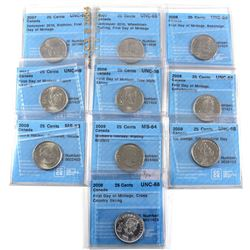 2007-2009 Canada 25-cent Olympics CCCS Certified Almost All First Day of Mintage - 2007 Biathlon UNC