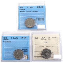 1944-1947 Canada 5-cent Varieties Certified. 1944 Missing Chrome CCCS AU-50 (scratch), 1946 Arrowhe