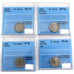 1903-1956 Canada 10-cent CCCS Certified - 1903H VG-10, 1938 EF-40 (Polished), 1948 F-15 & 1956 Dot V