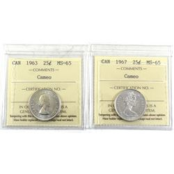 1963 & 1967 Canada 25-cent ICCS Certified MS-65 Cameo. 2pcs