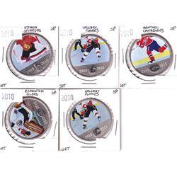 2010 Canada 50-cent NHL Commemorative Coloured Specimen Coins. Ottawa Senators, 2x Calgary Flames,