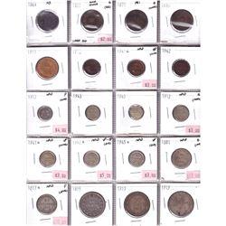 Lot of 1861-1945 Canadian Maritime Coinage. 1861 Nova Scotia 1-cent, 1871 PEI 1-cent, 1864 New Brun