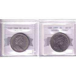"""1968 Canada Nickel $1 No Island & 1980 Nickel $1 Double """"Regina"""" Both Coin Mart Graded AU-55. 2pcs"""