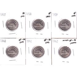 1937-1942 Canada 5-cent in Extra Fine to Almost Uncirculated Conditions (coins contain various impai