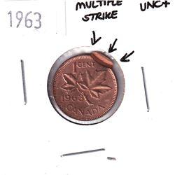 Error! 1963 Canada 1-cent with Multiple Strike Error UNC+.