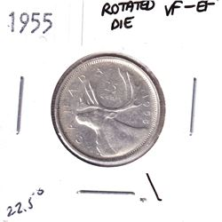 Error! 1955 Canada 25-cent with 22.5 Degree Rotated Die Error VF-EF.