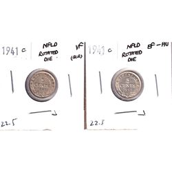 Error! 2x 1941C Newfoundland 5-cents with 22.5 Degree Rotated Die Errors - Very Fine and EF-AU. 2pcs
