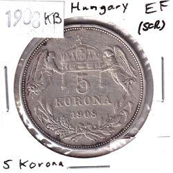 1908KB Hungary 5 Korona Extra Fine (scratched).