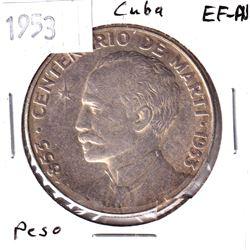 1953 Cuba 1 Peso EF-AU.