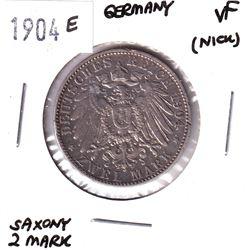 1904E Germany Saxony 2 Mark Very Fine (Nick).