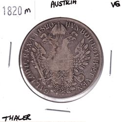 1820M Austria Thaler Very Good.