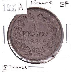 1831A France 5 Francs Extra Fine.