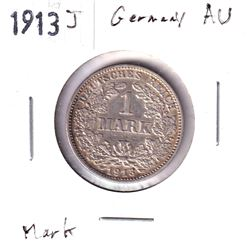 1913J Germany 1 Mark Almost Uncirculated.