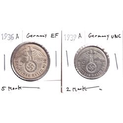 1936A Germany 5 Mark Extra Fine & 1939A Germany 2 Mark Uncirculated. 2pcs