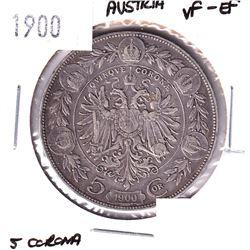 1900 Austria 5 Corona VF-EF.