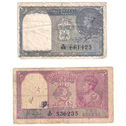 1937 India 2 Rupees Pick #17a Very Good (Damaged) & 1940 1 Rupee Pick #25a Fine (Tears). 2pcs