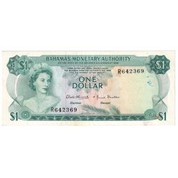 1968 Bahamas $1 Pick #27a Extra Fine (Writing/Stains).