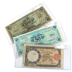 Lot of 1943 Italy Banknotes - 1943 50 Lire Pick #66 Very Good (Tear), 1943A 50 Lire Pick #M20a Extra