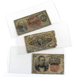 2x 10-cent & 25-cent United States Fractional Currency Notes (Impaired). 3pcs