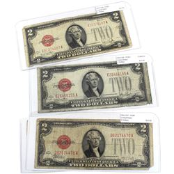 1928 United States $2 Banknotes - FR#1507 & 2x FR#1508. 3pcs