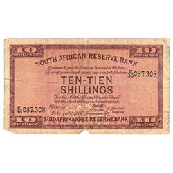 1937 South Africa 10 Shillings Pick #82d Fine (Note contains tears & 4 tiny pinholes on the right