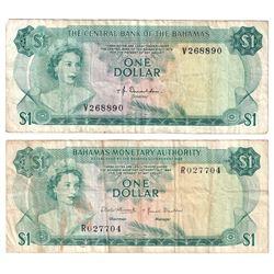 1968 Bahamas $1 Pick #27a Very Fine (Stain) & 1974 $1 Pick #35a Donaldson Very Fine (Holes). 2pcs