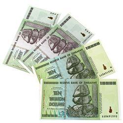 2008 Zimbabwe Hyperinflation Banknotes - 2x 10 Trillion Dollars & 2x 50 Trillion Dollars Uncirculate