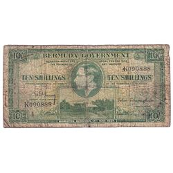 1937 Bermuda 10 Shillings Pick #9 Good (Note contains 9 small pinholes on the left side and one in t
