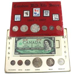 2x 1867-1967 Canada Centennial 6-Coin Sets. One of the sets contains a 1967 No Serial Number Commemo