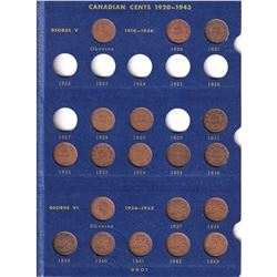1920-1969 Canada 1-cent Collection in Vintage Blue Whitman Folder - Missing 1922-1927 & 1930. 47pcs