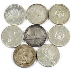 Estate Lot of 1939-1965 Canada Silver Dollars - 1939, 1958, 1962, 2x 1963, 2x 1964 & 1965. 8pcs