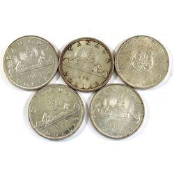 1962, 1963, 1964, 1965 & 1966 Canada Silver Dollars. 5pcs