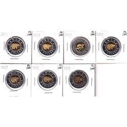 Estate Lot 1997-2011 Canada $2 Proof Collection (impaired). You will receive 2x 1997, 1998, 1999, 2x