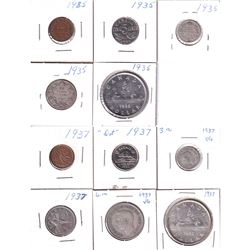 1935 & 1937 Canada Year Sets 1-cent to Silver $1, Except 1935 is Missing the 50-cent. 11pcs