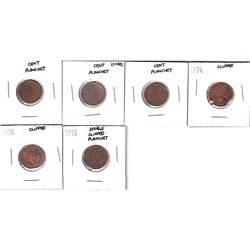 Canada 1-cent Planchets and Clipped Planchets. You will receive 3x cent planchets & 3x clipped planc