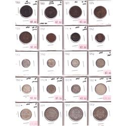 1861-1945 Canada Maritimes 1-cent, 5-cent, 10-cent, 20-cent, 25-cent & 50-cent in Plastic Page. You