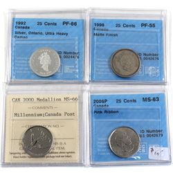 Lot of Canada Certified Commemorative Coins - 1992 25-cent Silver Ontario CCCS PF-66 Ultra Heavy Cam