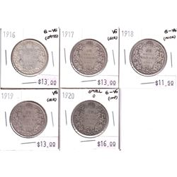 1916-1920 Canada 50-cent - 1916 G-VG, 1917 VG, 1918 G-VG, 1919 VG & 1920 Small 0 G-VG. Coins contain