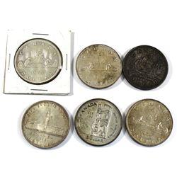 1939, 1949, 1953, 1954, 1958 & 1963 Canada Silver Dollars. 6pcs