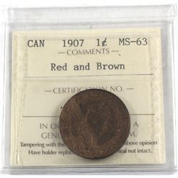 1-cent 1907 ICCS Certified MS-63 Red & Brown. Nice even tones throughout obverse and reverse.