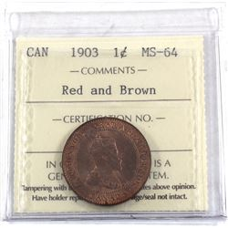 1-cent 1903 ICCS Certified MS-64 Red & Brown. A great deep burnt orange coin.