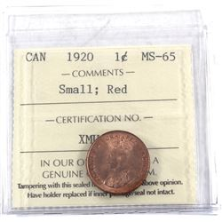 1-cent 1920 Small, ICCS Certified MS-65 RED! A near pristine example of the first year of the Small