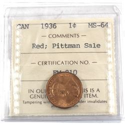 1-cent 1936 ICCS Certified MS-64 RED; Pittman Sale. Bright vibrant orange coin in old embossed 2 let