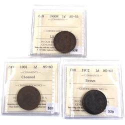 Group Lot 3x 1-cent ICCS Certified. Lot includes: 1900H AU-55, 1901 MS-60 cleaned, 1902 MS-60 Brown.
