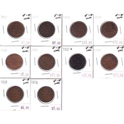 Group Lot 10x Canada Large 1-cent. Lot includes: 1902, 1903, 1904, 1905, 1906, 1907, 1907H, 1908, 19