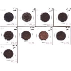 Group Lot 9x Victorian Canada Large 1-cent. Lot includes: 1893 x2, 1895, 1896x2, 1898H, 1899, 1900 &