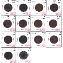 Group Lot 14x Victorian Canada Large 1-cent. Lot includes: 1882H Obv.2, 1886 Obv.2, 1888, 1891 LDLL